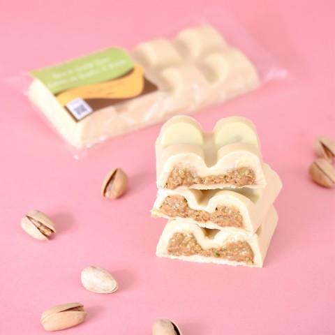 Barra De Chocolate Branco Recheada Com Brigadeiro De Pistache - Sem Açúcar Sem Lactose Sem Glúten Low Carb Vegano - 120 Gramas