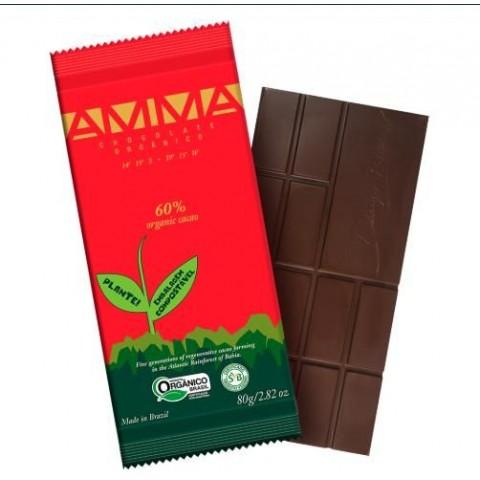 Tablete Amma Chocolates 60% Cacau Orgânico - 80 Gramas