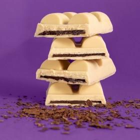 Barra De Chocolate Branco Recheada Com Brigadeiro De Avelã - Sem Açúcar Sem Lactose Sem Glúten Low Carb Vegano - 120 Gramas