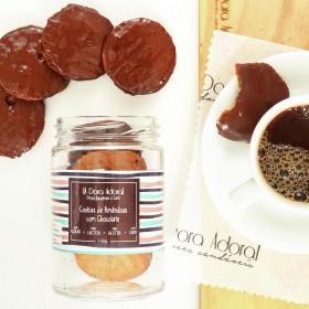 Cookies De Amêndoas Coberto De Chocolate no Pote Sem Açúcar Sem Lactose Sem Lácteos Sem Glúten Low Carb A Dora Adora - 165 Gramas